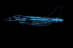 Falcão f16 transparente rendido do raio X azul ilustração do vetor
