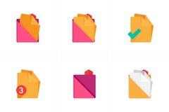 Falcówki i kartotek ikony Set 3 Obrazy Stock