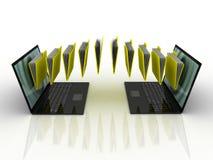 Falcówki latają w twój laptop Fotografia Stock
