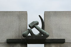 Falce e martello Memoriale di guerra sovietico in Terezin Fotografia Stock