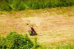 Falciatore agricolo che taglia alta erba Immagine Stock