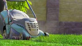 Falciatrice da giardino che taglia erba verde in cortile Fotografia Stock Libera da Diritti