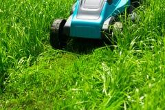 Falciatrice da giardino che taglia erba verde immagini stock