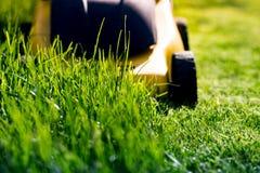 Falciatrice da giardino sull'erba fotografie stock