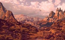 Falcon. Soaring above a Utah landscape royalty free illustration