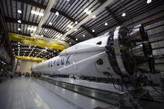 Falcon 9 rocket in hangar Royalty Free Stock Image