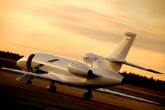 Free Falcon 900EX Private Jet Airplane Ready To Board And Depart At Skavsta Airport Sweden Royalty Free Stock Photography - 196654277