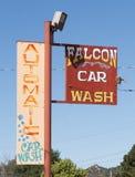 Falcon Car Wash. Walsenburg, CO/USA - September 8, 2016: The sign of Falcon Car Wash in Walsenburg, Colorado Royalty Free Stock Photos
