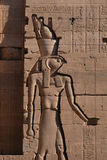 Falcon-headed God Horus. Falcon-headed Egyptian god Horus, a bas-relief from Temple of Isis on the Philae Island near Aswan, Egypt Royalty Free Stock Photography