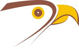 Falcon logo design. Image Falcon logo yellowy-brown colors. The head of the falcon stylised. An ikon sign. An image expressing flight, aspiration up. It is Stock Photos