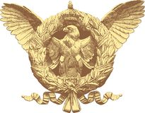 Falcone. Vintage drawing of the eagle with crest and crown Stock Photo