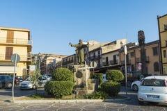 Falcone and Borsellino square in Corleone in Sicily, Italy. Corleone, Italy - August 9, 2017: Falcone and Borsellino square in the old town of Corleone, a town Stock Image