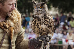 Free Falconer In The Country With A Predator In Hand.  9th July 2011, CESKY RUDOLEC. CZECH REPUBLIC Stock Photos - 62052053