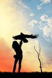 Falconer at sunset Royalty Free Stock Photography