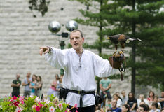 Falconer. Trezzo sullAdda, Italy, June 22nd, 2014: Man falconer holding a owl on his arm at the Falconeria(at the Medieval Festival) demonstration.People and the Royalty Free Stock Photography