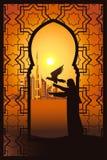 Falconiere nel deserto vicino alla città del Dubai nel telaio di arabesque illustrazione di stock