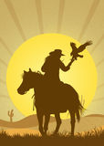 Falconry in the desert Stock Photo