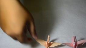 Falcowanie ptaka papier lub Origami Dźwigowy japoński styl zbiory