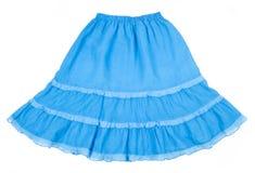Falda azul aislada en blanco Fotografía de archivo libre de regalías