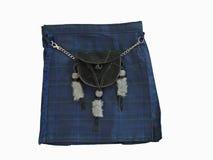 Falda escocesa escocesa con una escarcela de los montañeses de Escocia de cuero negra Foto de archivo