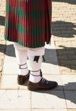 Falda escocesa roja y verde del escocés del tartán foto de archivo