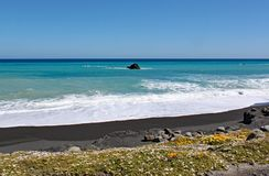 Fale i piany obmycie w górę dalej opustoszała plaża przy przylądkiem Palliser, Północna wyspa, Nowa Zelandia obraz stock
