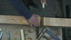Falegname che sega un fascio di legno con una sega giapponese stock footage