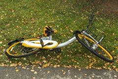 Falen cykel på gräset fotografering för bildbyråer