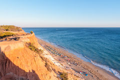 Falesia Beach seen from the cliff at sunset Royalty Free Stock Image