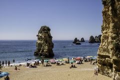 Falesias in the Algarve in Portugal. Europe royalty free stock images