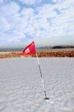 faleza kurs zakrywał flaga golfa śnieg zdjęcie stock