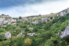 Falezy formacja z roślinnością i niebieskim niebem Zdjęcia Royalty Free