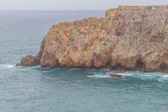 Falezy i ocean w Cabo De Sao Vincente Zdjęcia Royalty Free