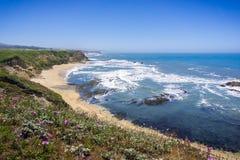 Falezy i piaskowata plaża na Pacyficznego oceanu linii brzegowej Obraz Stock
