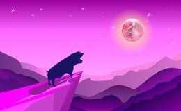 Falezy tła fiołek bierze przygodę w dżungli dokąd świniowaty Stojak na falezy spojrzeniu księżyc wewnątrz wokoło z górami w nocy  ilustracja wektor