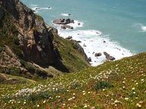Falezy w Cabo da Roca blisko Sintra, Portugalia, kontynentalny Europe's westernmost punkt Fotografia Stock