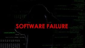Falha de software, tentativa mal sucedida de cortar o servidor, criminoso desapontado fotos de stock