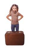 A falha desassossegado desagradada da menina viajar isolou-se sobre imagens de stock royalty free