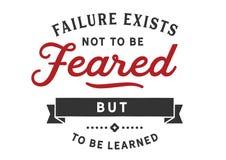 A falha existe para não ser temida mas para ser aprendida ilustração stock