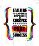 A falha não é o oposto do sucesso É parte do sucesso Bandeira criativa inspirador do molde das citações da motivação ilustração royalty free