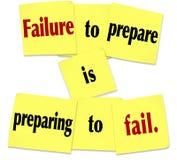 A falha Prepare está preparando-se para falhar dizer pegajoso da nota Foto de Stock Royalty Free