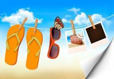 Falhanços de aleta, óculos de sol e cartões da foto que penduram sobre  Imagens de Stock Royalty Free
