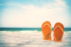 Falhanços de aleta alaranjados na praia ilustração do vetor