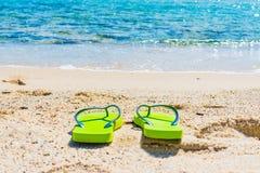 Falhanços de aleta verdes pelo mar Fotos de Stock Royalty Free
