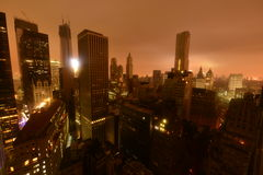 Falho eléctrico da baixa de Manhattan devido a Sandy Imagem de Stock