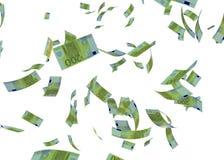Faling欧洲钞票3d在白色回报 库存照片