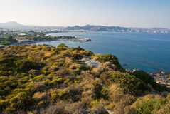 Faliraki bay. View at Faliraki bay from a hill. Greece Royalty Free Stock Photos