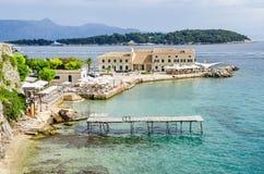 Faliraki beach  or Alecos Baths  in Corfu Town Royalty Free Stock Photo