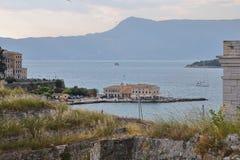 Faliraki Beach, Gulf of Corfu and Mount Pantokrator seen from the Old Fortress of Corfu, Corfu City, Corfu Island, Greece, Europe stock images