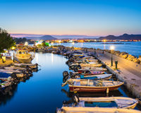 Faliraki Harbour at Night Rhodes. Overlooking the harbour at night. Faliraki Rhodes Dodecanese Greece Europe Royalty Free Stock Photography